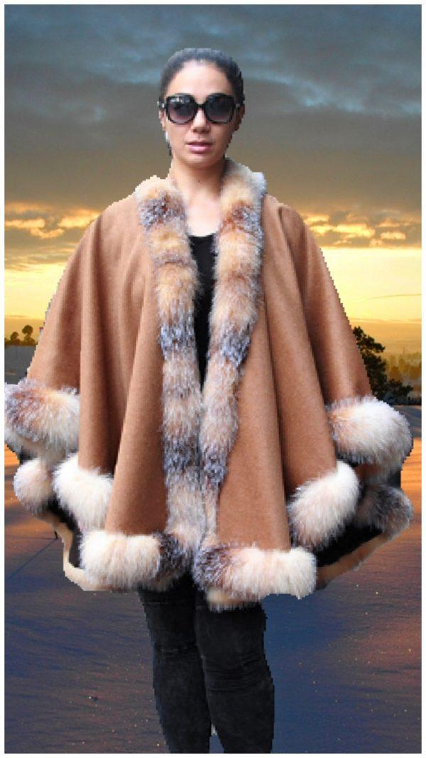 plus size camel cashmere cape