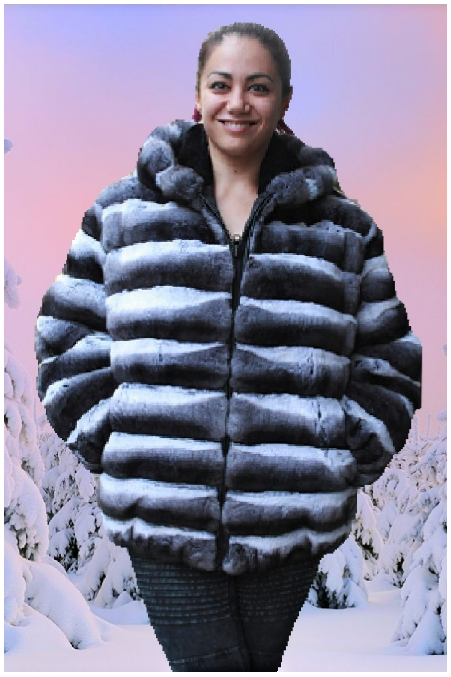 plus size chinchilla jacket