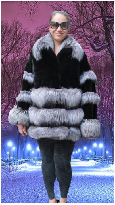 plus size black mink jacket indigo fox trim