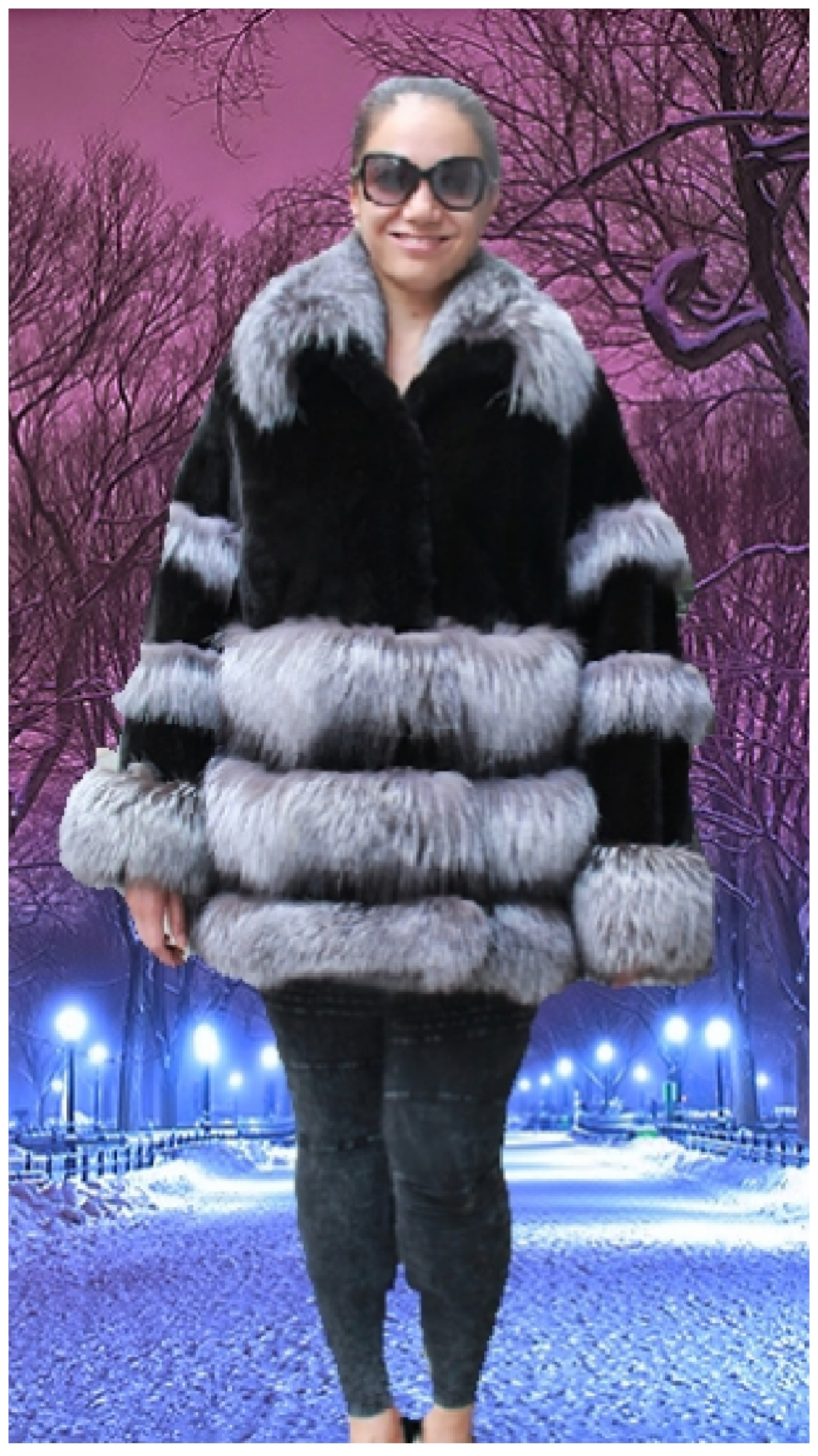 plus size black mink jacket indigo fox trim