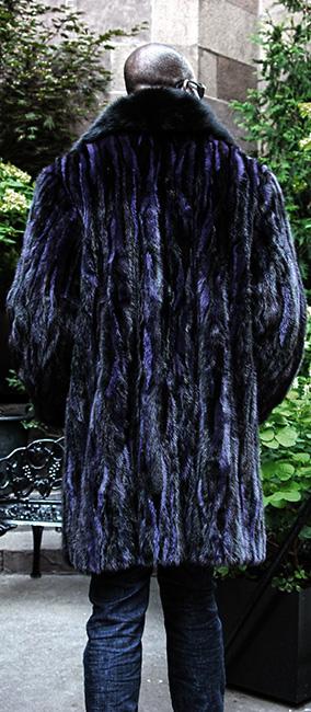 Men's Purple Ranch Mink Stroller Black Fox Tuxedo
