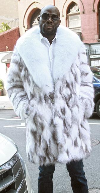 Mens Silver Shadow Fox Coat White Fox Collar