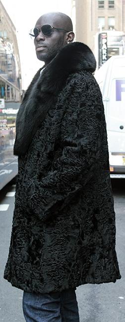 Mens Black Persian Lamb Fur Coat Black Fox Fur Collar