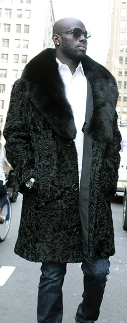 Mens Black Persian Lamb Fur Coat Black Fox Fur Collar