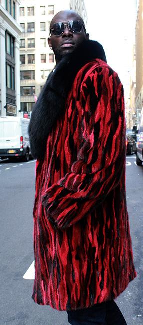 MENS STRIPED BLACK RED MINK FUR COAT BLACK FOX FUR COLLAR