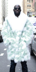 Mens Mint Green Fox Fur Coat White Fox Fur Collar