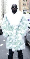 Mens Mint Green Fox Fur Coat White Fox Fur Collar