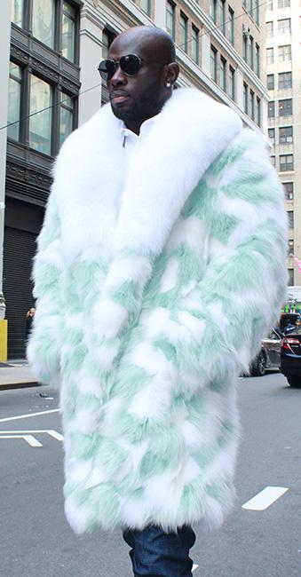 Mens Mint Green Fox Fur Coat White, White Fox Fur Coat Collar