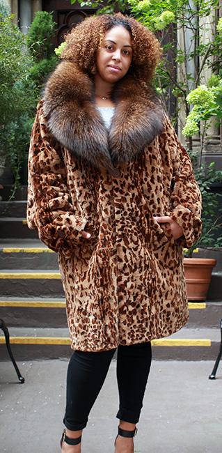 Animal print mink stroller