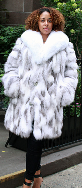 This silver shadow fox coat