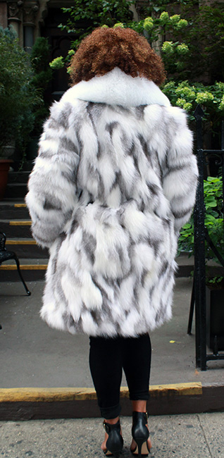 This silver shadow fox jacket
