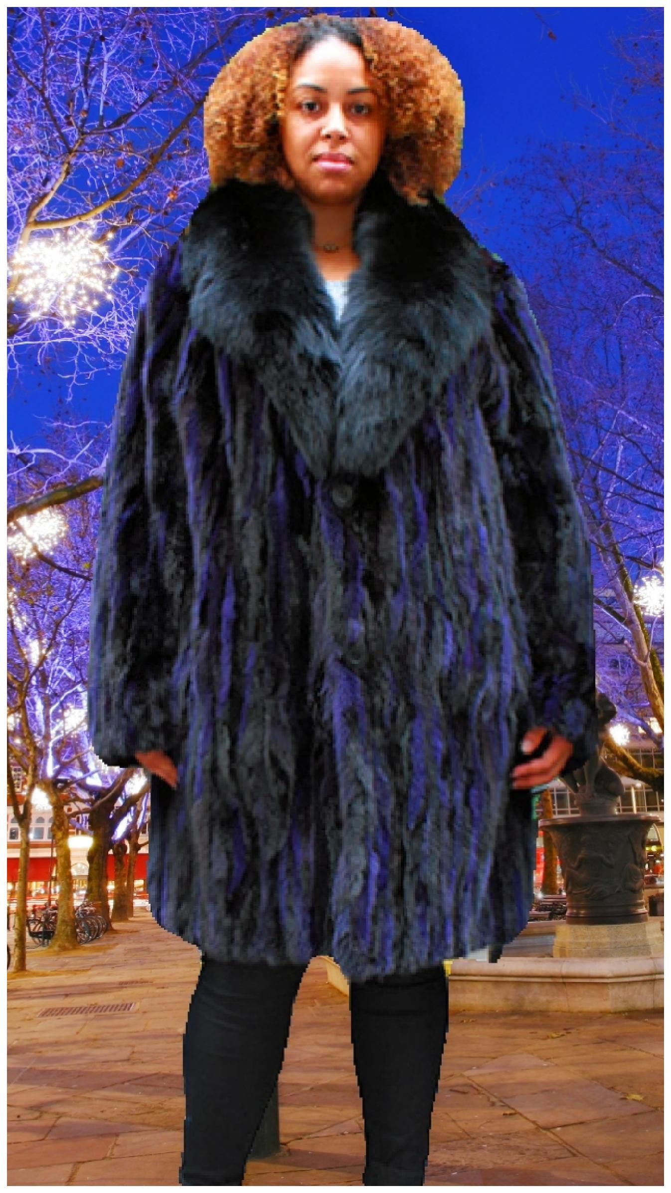 plus size purple black mink stroller