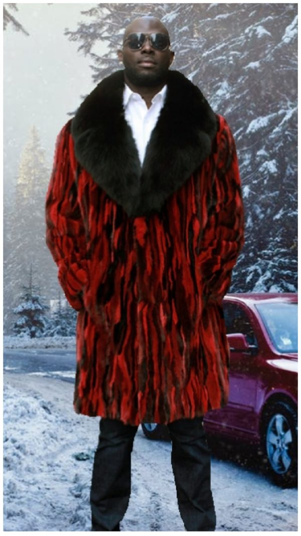 mens striped black red mink fur coat black fox fur collar