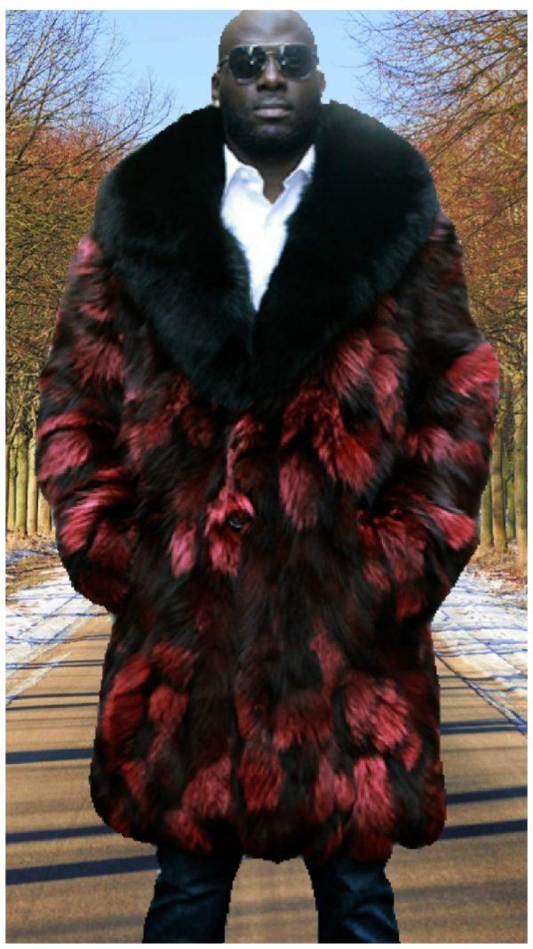 red black men's fox fur coat black fox fur collar