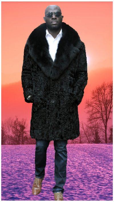 men's black persian lamb fur coat black fox fur collar
