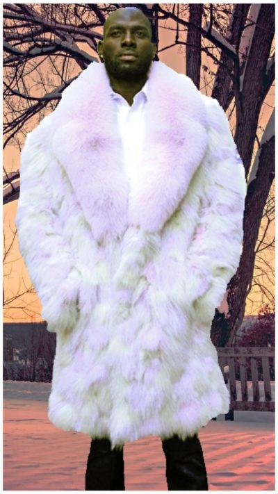 multi colored fox fur coat lavender fox fur collar