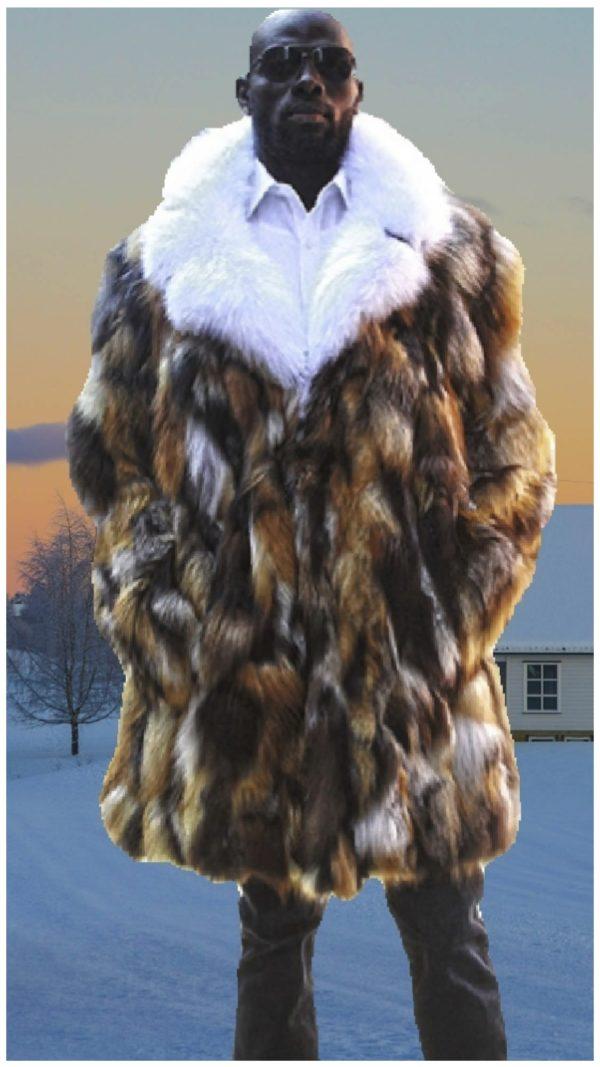 men's fox stroller white fox collar