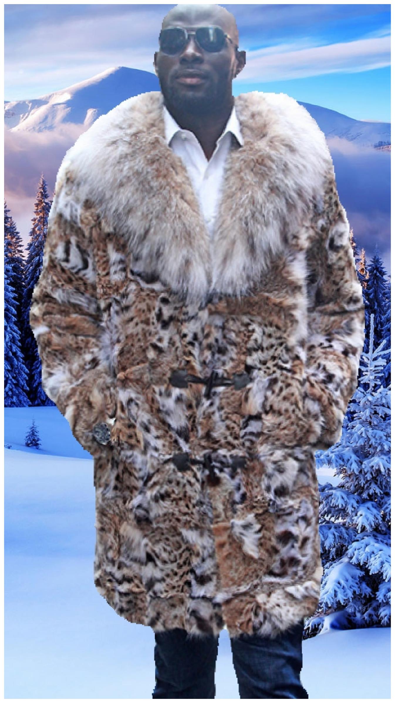 mens cat lynx coat canadian lynx collar
