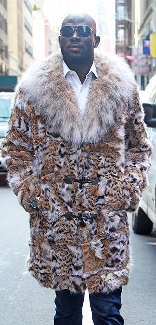 Mens Cat Lynx Coat Canadian Lynx Collar
