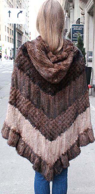 Multi Toned Knit Mink Fur Poncho Hood