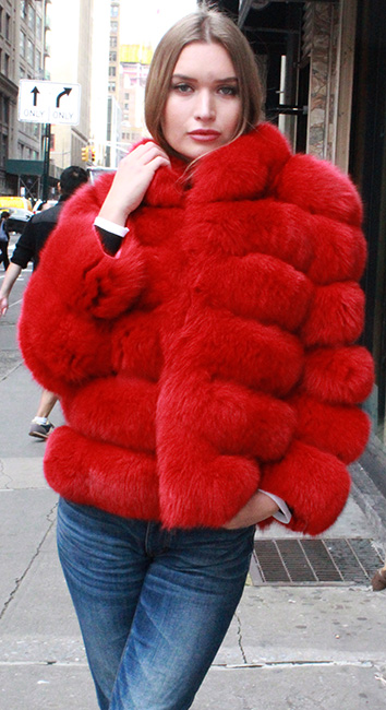Red Fox Fur Horizontal Jacket