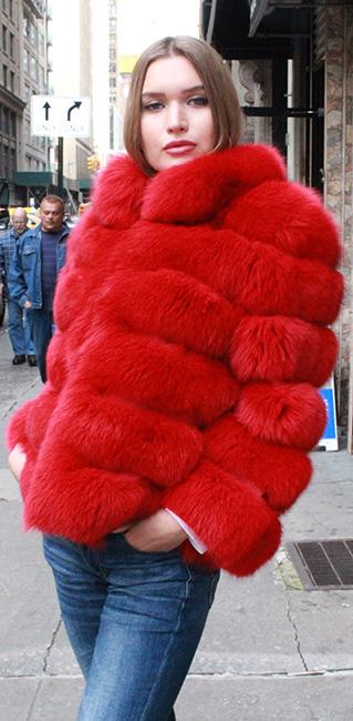 Red Fox Fur Horizontal Jacket