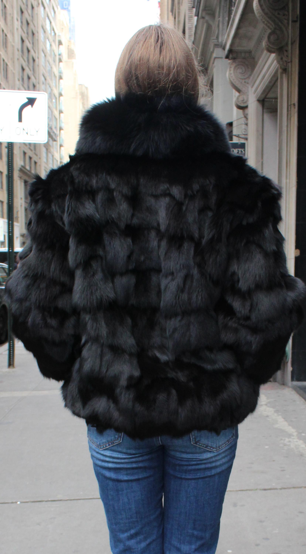 Black Diamond Cut Fox Fur Jacket