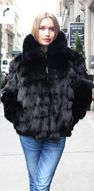 Black Diamond Cut Fox Fur Jacket