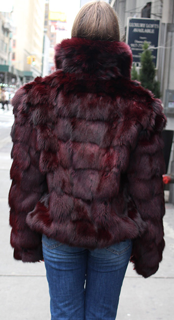 Plum Diamond Cut Fox Fur Jacket