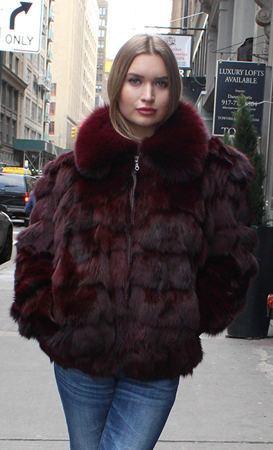 Plum Diamond Cut Fox Fur Jacket
