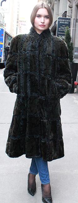 Green Sheared Mink Fur Coat