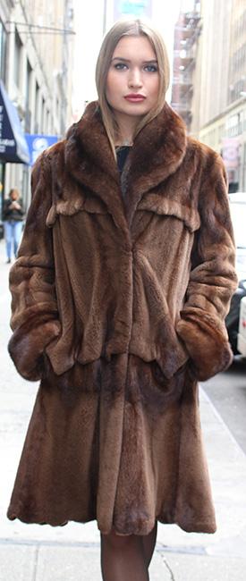 brown sheared mink stroller