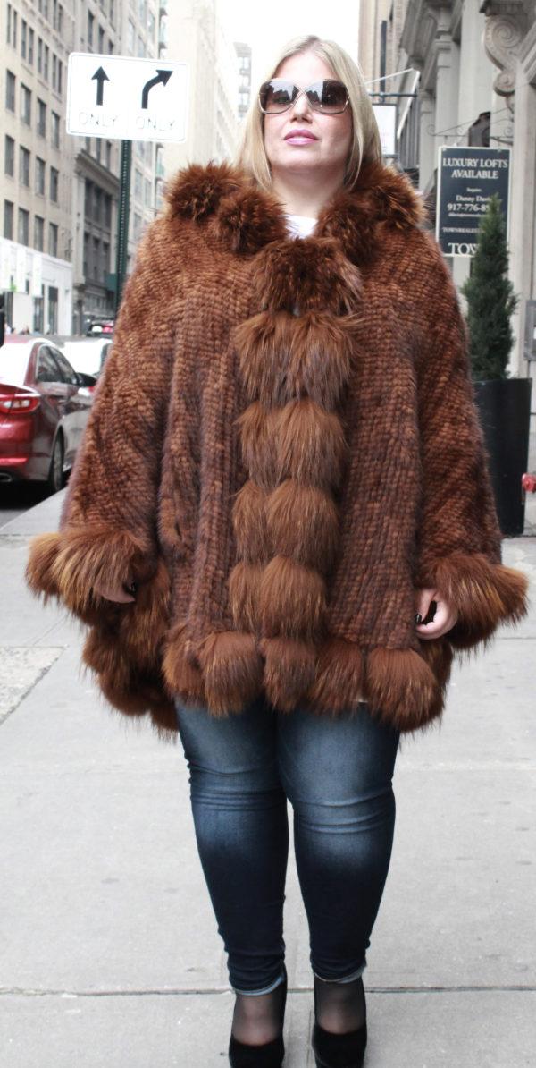 Whiskey Poncho Fox Fur Trim Hood