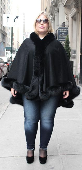 Black Cashmere Poncho Black Fox Fur Trim
