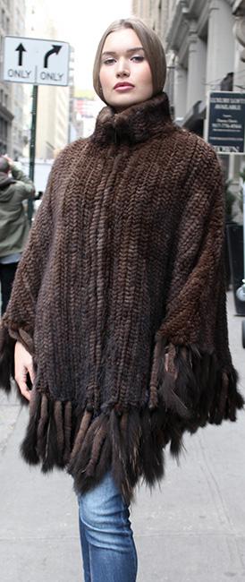 Mahogany Knit Mink Fur Zippered Poncho