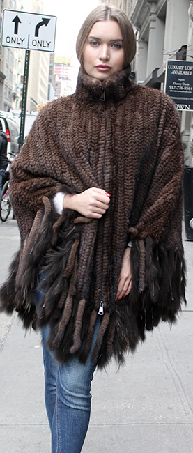 Mahogany Knit Mink Fur Zippered Poncho