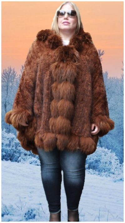 whiskey poncho fox fur trim