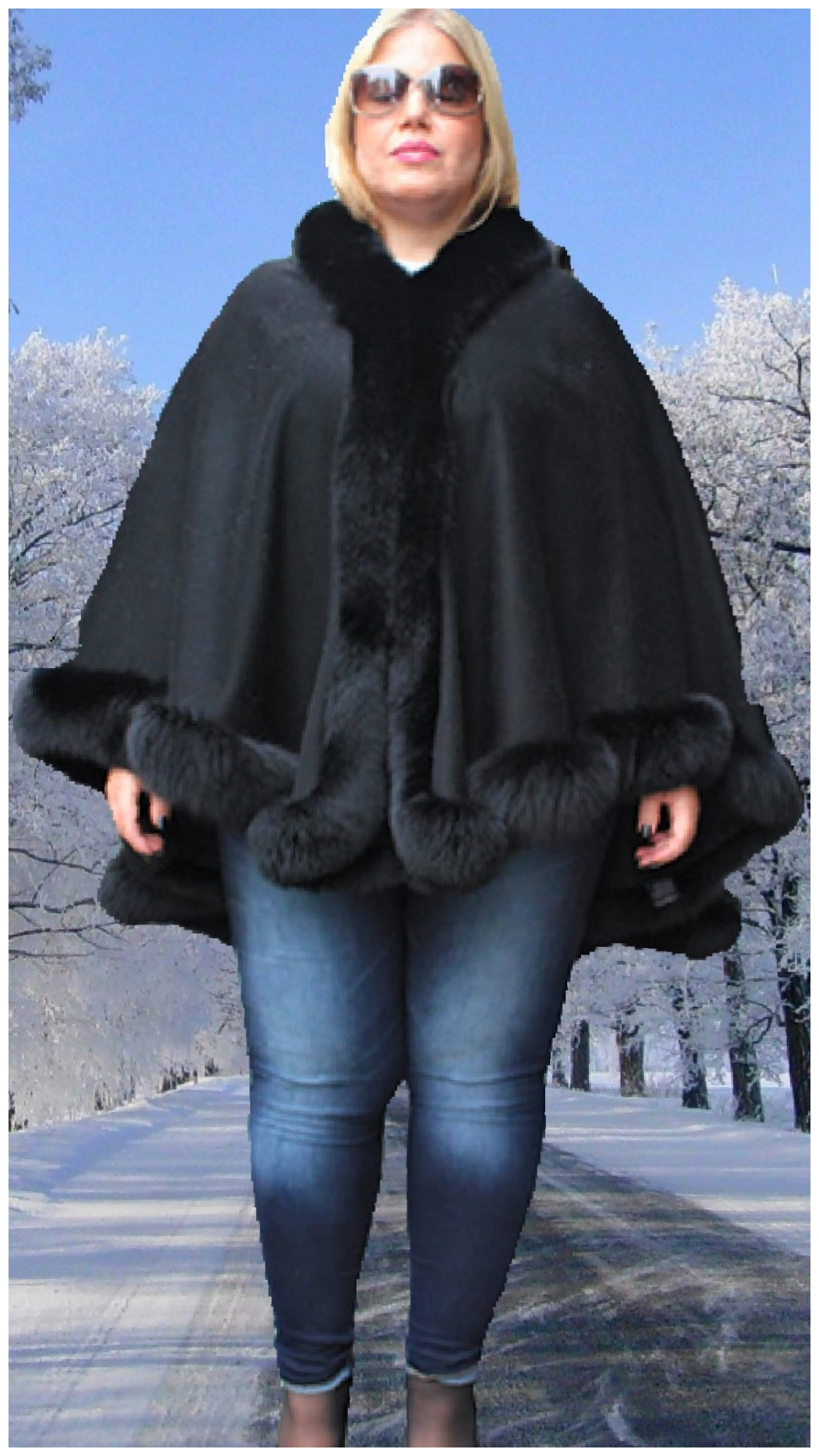 fur cape with fox fur trim