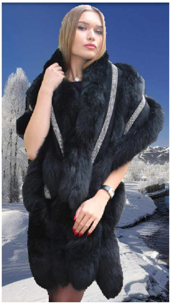black fox fur stole