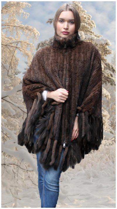 mahogany knit mink fur poncho