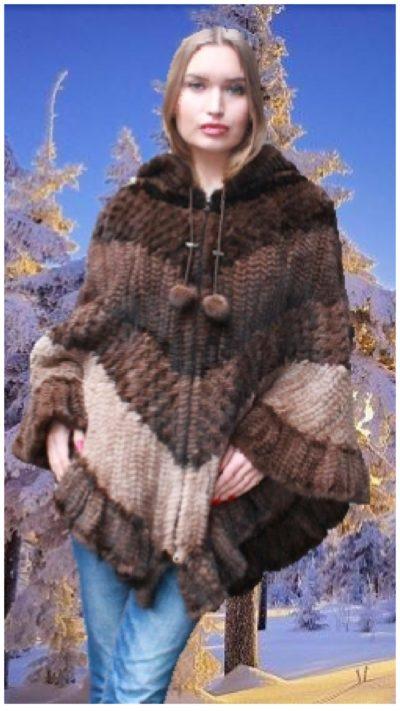 multi toned mink fur poncho hood