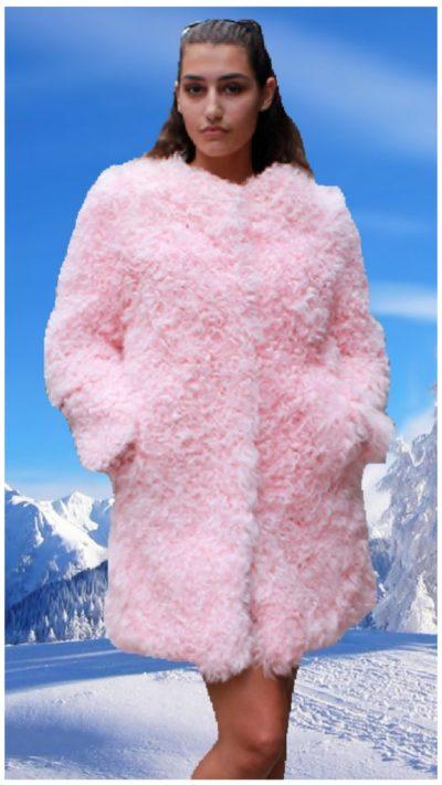 pink lamb fur jacket
