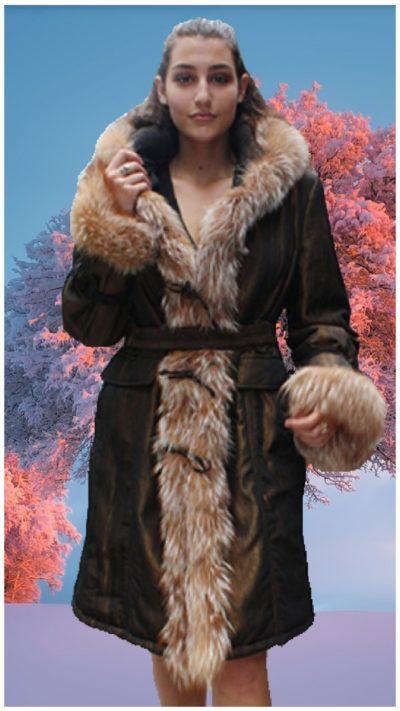 bronze poplin stroller crystal fox fur trim hood