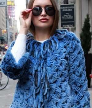 blue knit rabbit cape
