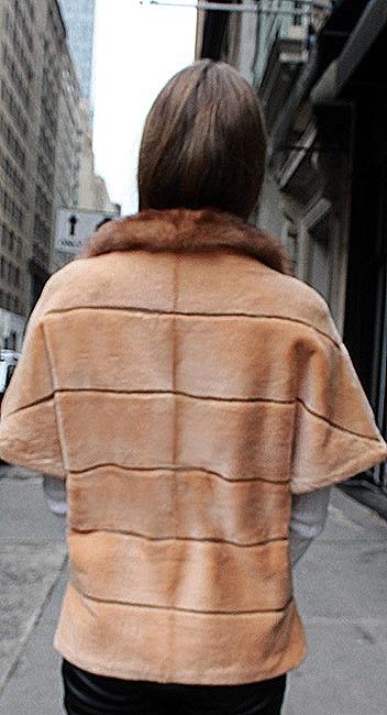 burnt orange mink fur short sleeved jacket able collar