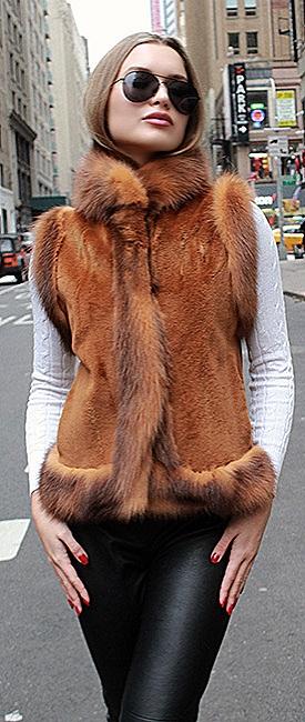 woman mink fur vest