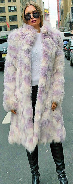 Lavender White Fox Coat
