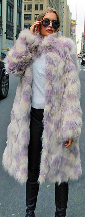 Lavender White Fox Coat