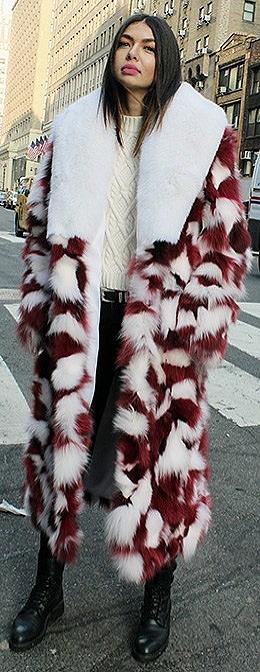 Womens Red White Peppermint Fox Coat White Fox Fur Collar