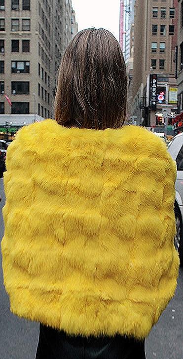 Yellow Rabbit Fur Cape